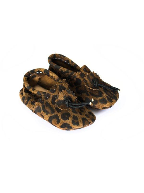 baby schoentje luipaard bruin