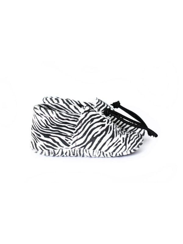 baby slofje leer zwart wit zebra