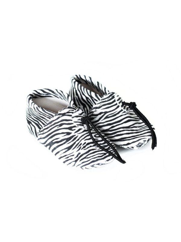 babyslofje leer zwart wit zebra