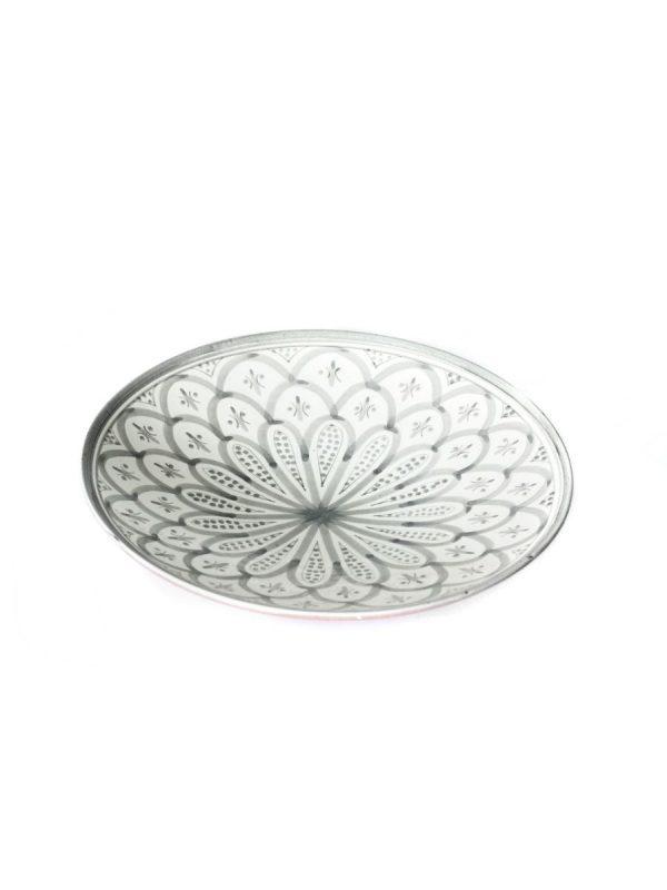 marokkaans bord grijs wit