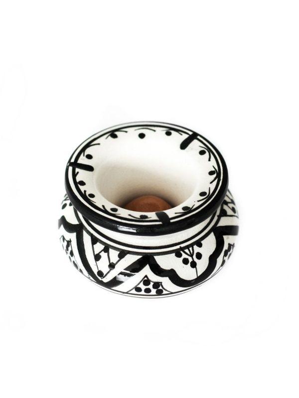 Marokkaanse asbak zwart wit klein