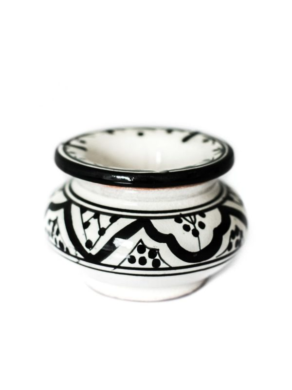 Marokkaans aardewerk asbak zwart wit klein