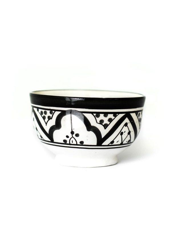 Marokkaanse kom klein zwart wit handgemaakt