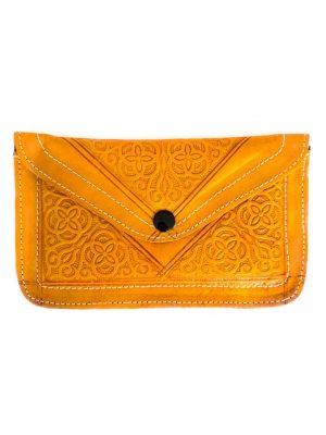 marokkaanse leren portemonnee groot oker geel