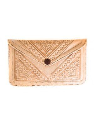 portemonnee leer marokkaans nude handgemaakt