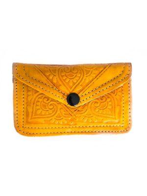 marokkaanse leren portemonnee klein geel