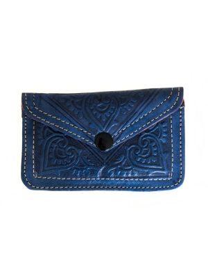 portemonnee leer blauw handgemaakt