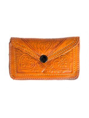 leren portemonnee geel oranje