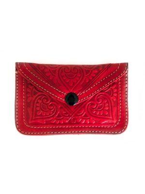 Leren portemonnee rood geitenleer