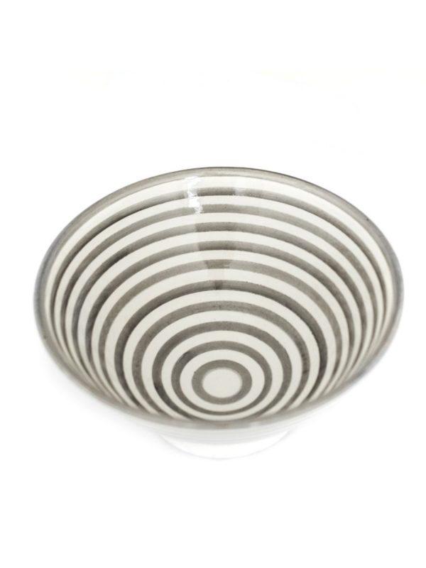 marokkaanse kom aardewerk handgeschilder grijs wit saladekom