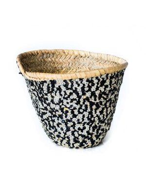 rieten mand pailleten handgemaakt zwart wit zeegras
